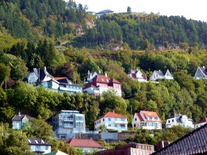 Bergen, Noruega, casas em solinas