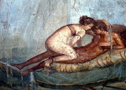 Afresco erótico no lupanar de Pompeia