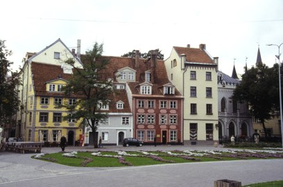 Casas típicas, Riga, Letônia, na Europa Oriental