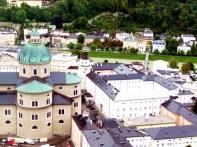 Centro histórico de Salzburgo vistao do alto