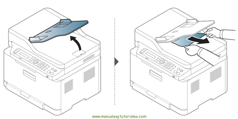 Cómo eliminar atasco de papel en la impresora Samsung Xpress SL-C460W. Atasco en la salida del escáner