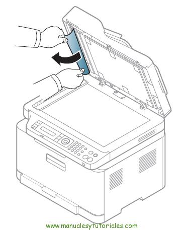Cómo eliminar atasco de papel en la impresora Samsung Xpress SL-C460W. Tapa del escáner
