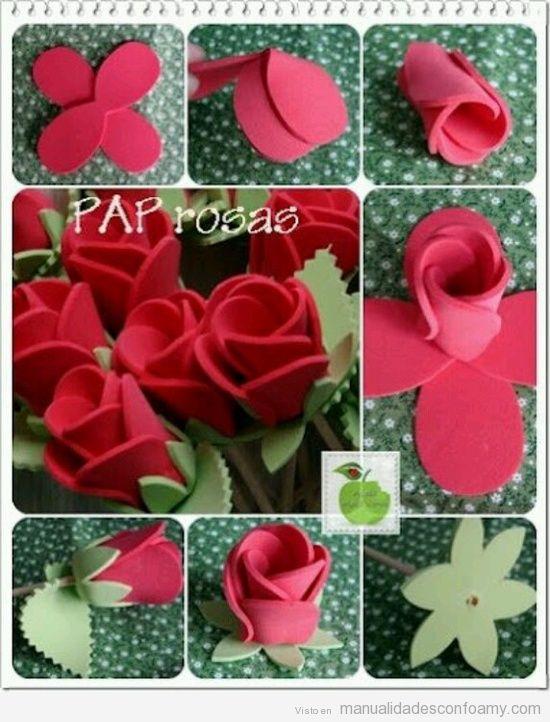 Una rosa de goma eva para sant jordi aprende a hacer una for Como hacer una alberca paso a paso