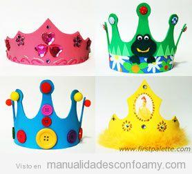 Coronas de cumplea os de goma eva manualidades con foamy for Decoracion de goma eva para cumpleanos