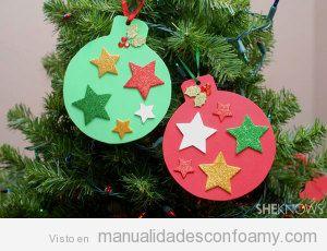 Bolas de rbol de navidad hechas con goma eva - Bolas arbol navidad manualidades ...