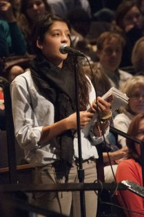 Avalon Gupta-Verwiede (9) addresses a question to speaker Tony Wagner. photo by Yazmin Martinez