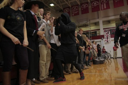 "Matthew Cissell (11) dances along his peers, acting as the ""dementor"" in the Harry Potter theme. Photo by Kinsey Ball"
