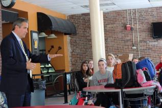 Principal Larry Wooldridge speaks to students on their behavior these past couple weeks.
