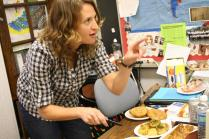 Mrs. Lenihan (Spanish Teacher) prepares Jewish food for members of International Club. Photo By: Alexis Weaver