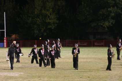 The Crimson Sound move around the field