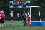 Renee DuFour (11) gleefully defends duPont Manual's goal.