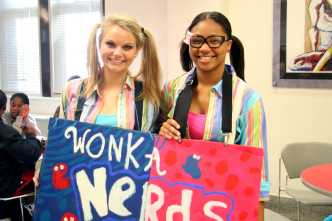 Danielle Crowe (12) and Amaris Kelsey (11) dressed as Wonka Nerds. Photo by: Destony Curry