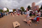 Students enjoy a game of Corn-hole before the debates.