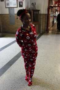 Jan Rogers (11) shows off her Mickey Mouse footie pajamas.
