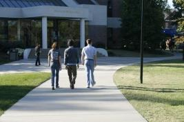 Students leisurely stroll on campus enjoying festival activities. Photo by Sarah Rohleder.