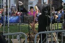 Tamron Hall broadcasts live from Centre's campus. Photo by Allison Traylor