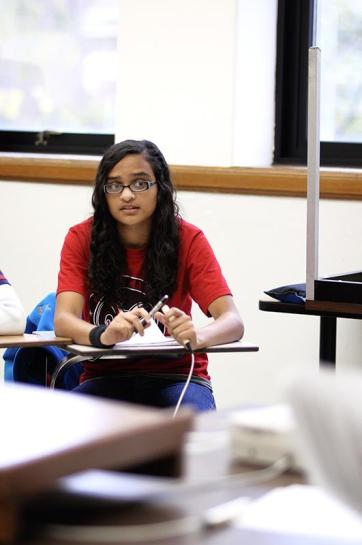 Member of group B from Manual's quick recall, Sanjana Rane, answers one of the question for her team for the quiz bowl at Western Kentucky University on Saturday October 27, 2012. photo by Yazmin Martinez