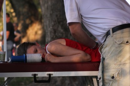 Cross country runner injures herself during the first meet.
