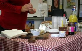 Condiments included brie, french cheese, Nutella, and jam. Madame Farman brought along French beverages such as natural lemonade and orange juice.