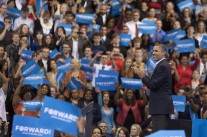 President Barack Obama reacts to Stevie Wonder's performance. Photo by Yazmin Martinez.