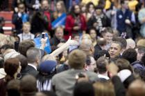Barack Obama greets the audience on November 4, 2012 at the University of Cincinnati. Photo by Yazmin Martinez. photo by Yazmin Martinez