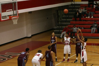 Dwayne Sutton (10) shoots a free throw. Photo By: Alexis Weaver