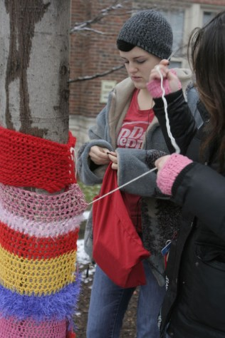 Students attach a yarn piece to a smaller tree in the courtyard. Photo by Allison Traylor.