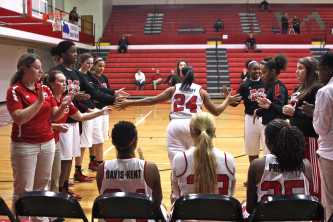 Lady Crimsons introduce their starting line up. Destony Curry (12, #24)