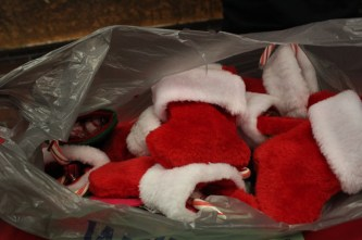 In addition to the cards, the volunteers stuff these stockings with candy.