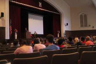 Principal candidates introduce themselves to the crowd. Photo by Allison Traylor