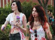 Two zombie girls walking around