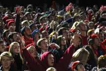 With six minutes left in the fourth quarter, Manual's student section watches and cheers for their team to play defense.