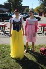 """Left to right: Benjamin Eastman (11, HSU) and George Anderson (11, HSU) """"When you think of 'Disney,' you think of 'Disney princesses' and that was the first costume I saw,"""" said Eastman. """"The only requirement is the confidence to wear it,"""" said Anderson."""