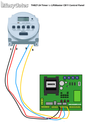 Wiring Diagram for Connecting TH82724 Timer to LiftMaster CB11