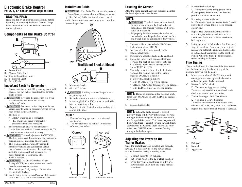 Tekonsha Voyager User Manual