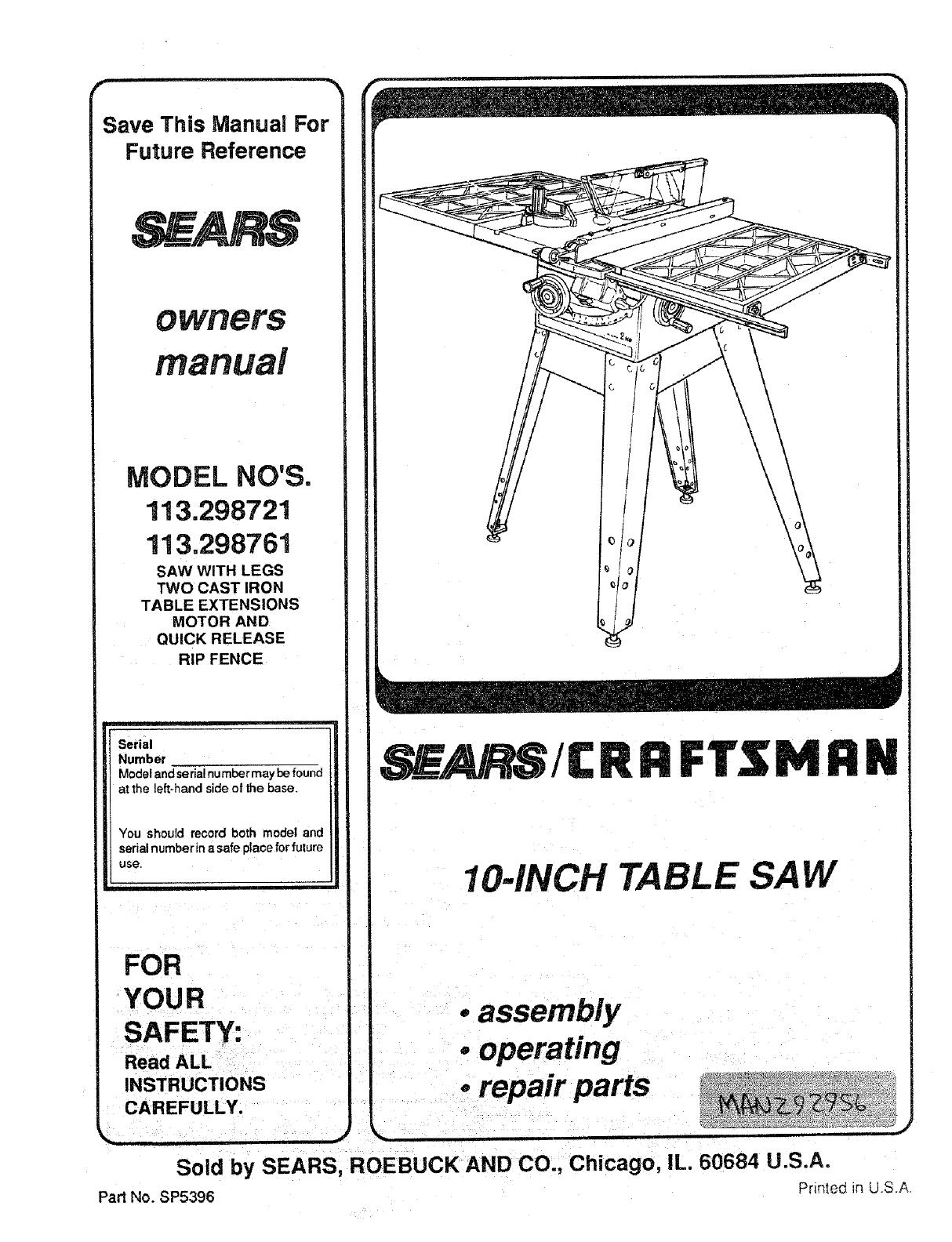 Craftsman 10 Inch Table Saw Model 113 Manual