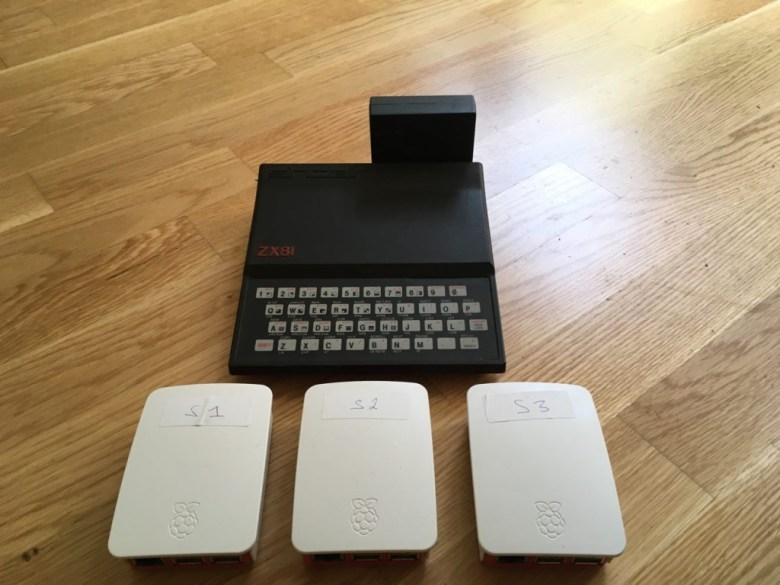 Assembled Raspberry PIs next to a Sinclair ZX81 for scale