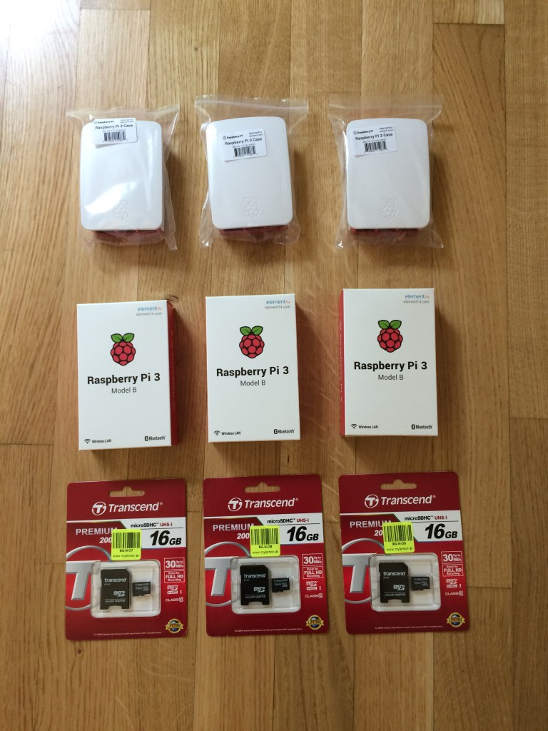Innocent and unsuspecting Raspberry PIs, unaware of their fate as Akka cluster nodes