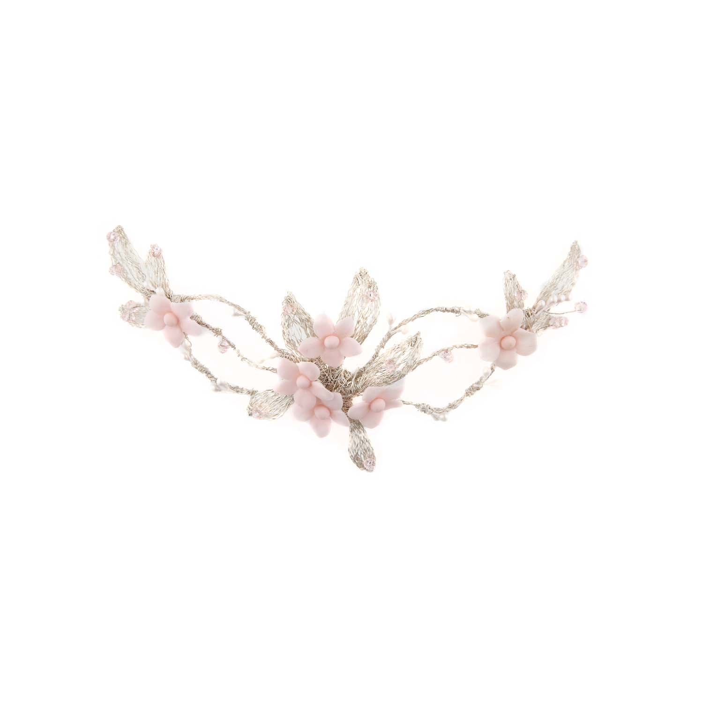 Tocado plata flores rosas