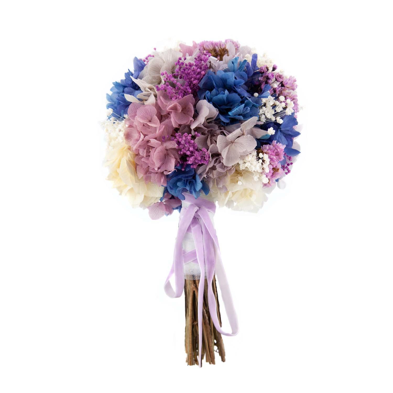 bouquet de hortensias preservadas morado y azul