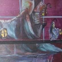 tableau sur carton maison de sorcière peinte