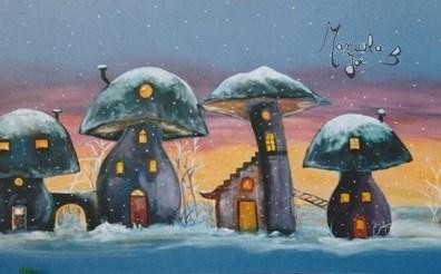 tableau maisons dans champignons nuit