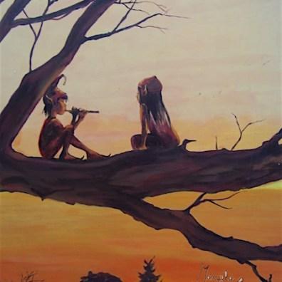 couple d'elfes assis sur branche d'arbre jouant de la flute