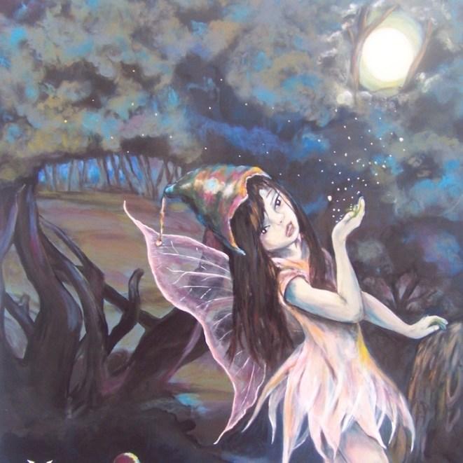 peinture fée dans forêt robe rose