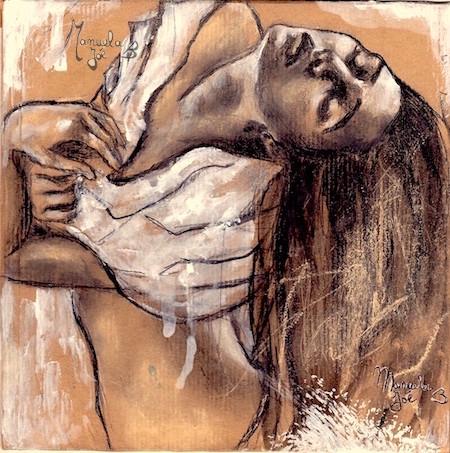 dessin sur kraft danseuse cheveux longs