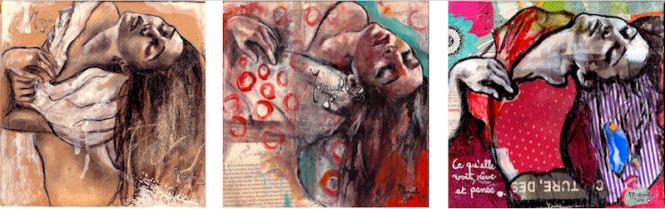 3 tableaux dessin peinture collage danseuse penchée en arrière