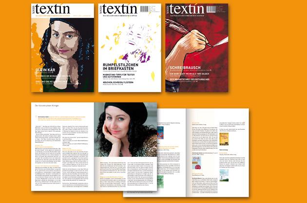 Grafik, Magazingestaltung. Abgebildet sind drei Cover und zwei Inhaltsseiten von textin, dem Magazin der Schreibszene Schweiz