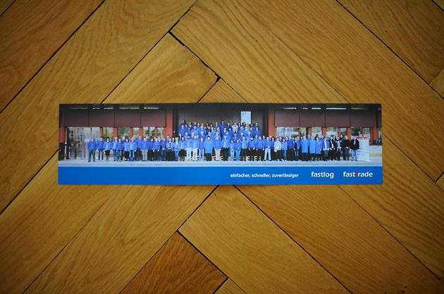 fastlog-Karte, Rückseite mit Gruppenbild offen