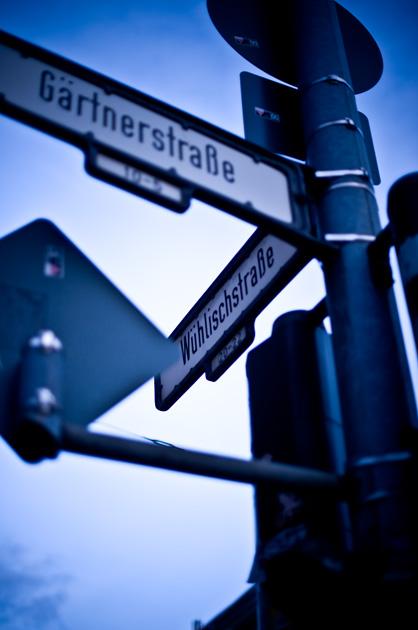 Berlin, Strassenschild Wühlistrasse Gärtnerstrasse