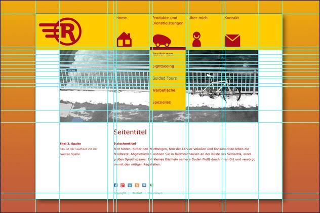 Rikscha-Walla Entwurf für die Homepage mit Hilfslinien
